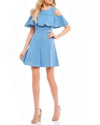 Rossmore. - Jamey Cold-shoulder Fit-and-flare Woven Dress - Lyst