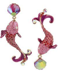 Betsey Johnson - Colorful Fish Mismatch Drop Statement Earrings - Lyst