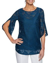 Ruby Rd. - Petite Size Solid Palm Leaf Textured Lace Tulip Sleeve Top - Lyst