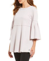 Calvin Klein - Performance Drapey French Terry Knit Bell Sleeve Tunic - Lyst