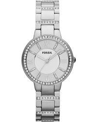 Fossil - Virginia Silvertone Clear Stone Detailed Sterling Silver 3 Hand Bracelet Watch - Lyst