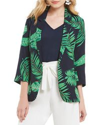 Skies Are Blue Tropical Print Blazer - Green