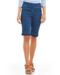 Ruby Rd. - Petites Pull-on Extra Stretch Denim Cuffed Bermuda Shorts - Lyst