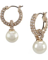 Lauren by Ralph Lauren - Gold Pearl Drop Hoop Earrings - Lyst