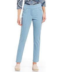 Ruby Rd. - Petite Size Extra Stretch Denim Straight Leg Pull-on Ankle Pants - Lyst