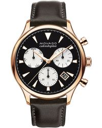 Movado - Heritage Series Calendoplan Chronograph Brown Leather Watch - Lyst