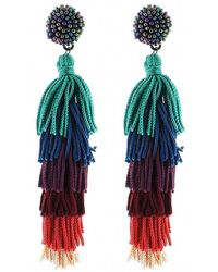 Panacea - Nylon Multi Stacked Tassel Earrings - Lyst