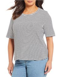 Eileen Fisher - Plus Size Round Neck Short Sleeve Striped Top - Lyst