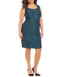 Kasper - Plus Size Metallic Jacquard Animal Print Sheath Dress - Lyst