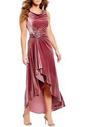 Eliza J - Draped Midi Asymmetrical Hi-low Velvet Dress - Lyst