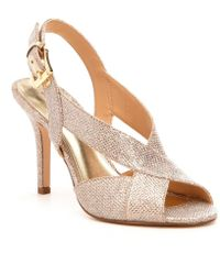 d2fff984eb8a Lyst - Michael Michael Kors Becky Metallic Snake Print Dress Sandals ...