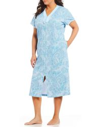 Miss Elaine - Plus Paisley-print Interlock Zip-front Long Robe - Lyst