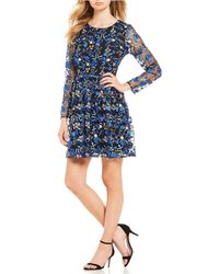 Belle By Badgley Mischka - Floral Embroidered Mesh A-line Dress - Lyst