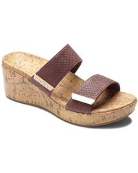 Vionic - Pepper Snake Embossed Cork Wedge Sandals - Lyst