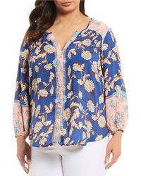 6a9d2e96726 Democracy - Plus Size Split V-neck 3 4 Sleeve Floral Print Button Front