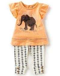 Jessica Simpson - Newborn-9 Months Elephant Flutter-sleeve Top & Printed Leggings Set - Lyst