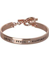 "BCBGeneration - Bcbg Rose Gold ""love, Peace, Happiness"" Bracelet - Lyst"