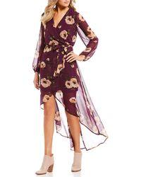 As U Wish - Floral-printed Long Sleeve High-low Wrap Dress - Lyst