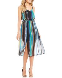 As U Wish - V-neck Striped Midi Dress - Lyst