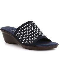 Onex - Izzy Rhinestone Studded Detail Leather Slip-on Sandals - Lyst