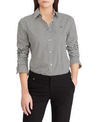Lauren by Ralph Lauren - Embroidered Houndstooth Button Front Shirt - Lyst