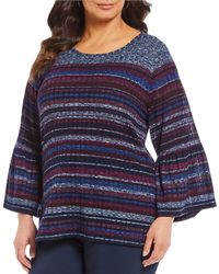 Ruby Rd. - Plus Size Boat Neck Striped 3/4 Flounce Sleeve Top - Lyst