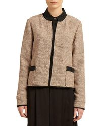 Donna Karan - New York Tweed And Solid Pieced Open-front Jacket - Lyst
