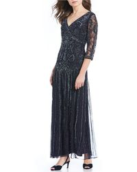 6c44683142e Pisarro Nights - Floral Scroll Beaded V-neck 3 4 Sleeve Gown - Lyst