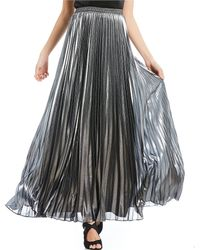 bd14d0f9c2 Eliza J - Accordion Pleated Metallic Maxi Skirt - Lyst