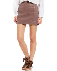 64a898a771 Free People - Modern Femme Vegan Faux Suede Mini Skirt - Lyst