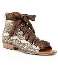 Free People | Palms Lace Up Snake Print Block Heel Sandals | Lyst