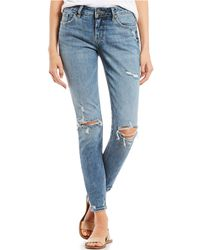 Silver Jeans Co. - Elyse Destructed Super Skinny Jeans - Lyst