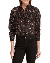 Lauren by Ralph Lauren - Petite Size Floral Cotton Voile Button Front Collared Shirt - Lyst