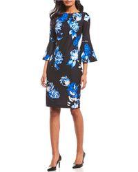 f1196d864656 Lyst - Calvin Klein Jacquard Floral Tulip Hem Dress in Black
