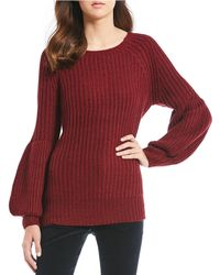 Chelsea & Violet - Balloon Sleeve Knitted Ribbed Sweater - Lyst