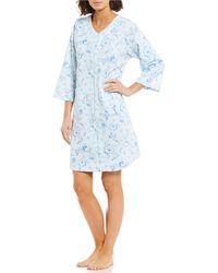 Miss Elaine - Floral-print Quilted Knit Zip-front Short Robe - Lyst