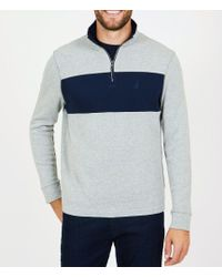 Nautica - Blocked Half Zip Mock Neck Long-sleeve Pullover - Lyst