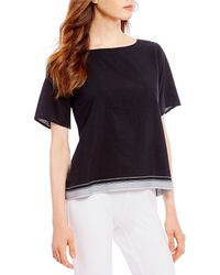 Eileen Fisher - Bateau Neck Short Sleeve Boxy Top - Lyst