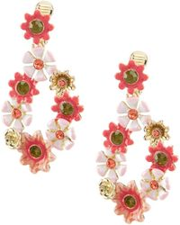 Anne Klein - Coral Flower Chandelier Statement Earrings - Lyst
