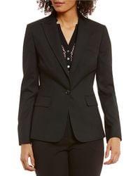 Jones New York Washable Suiting One Button Notched Peak Lapel Jacket