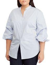 Lauren by Ralph Lauren - Plus Size Striped Cotton Novelty Shirting Balloon Sleeve Button Front Shirt - Lyst