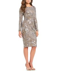 Betsy & Adam - Floral Sequin Midi Sheath Dress - Lyst