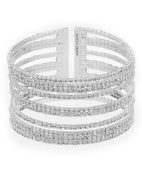 Anne Klein - Crystal Multi Row Pave Cuff Bracelet - Lyst