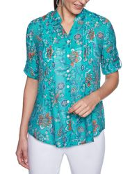 Ruby Rd. - Petite Size Roll-tab Sleeve Floral Vines Print Button Front Gauze Top - Lyst