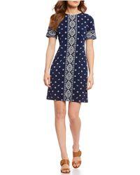 581bb45d0b MICHAEL Michael Kors - Medallion Print Short Sleeve Matte Jersey A-line  Dress - Lyst