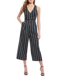 June & Hudson - Striped Crop Jumpsuit - Lyst