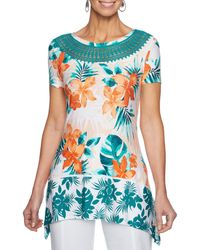 Ruby Rd. - Short Sleeve Hibiscus Floral Shadow Border Print Knit Top - Lyst