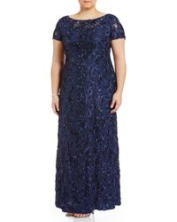 Alex Evenings - Plus Size Floral Rosette Short Sleeve A-line Gown - Lyst