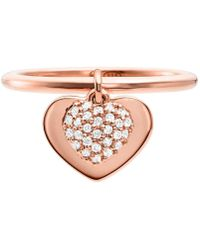 Michael Kors - Kors Love Collection Sterling Silver Pave Heart Ring - Lyst