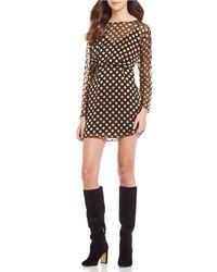 Astr - Winnie Metallic Polka Dot Blouson Dress - Lyst